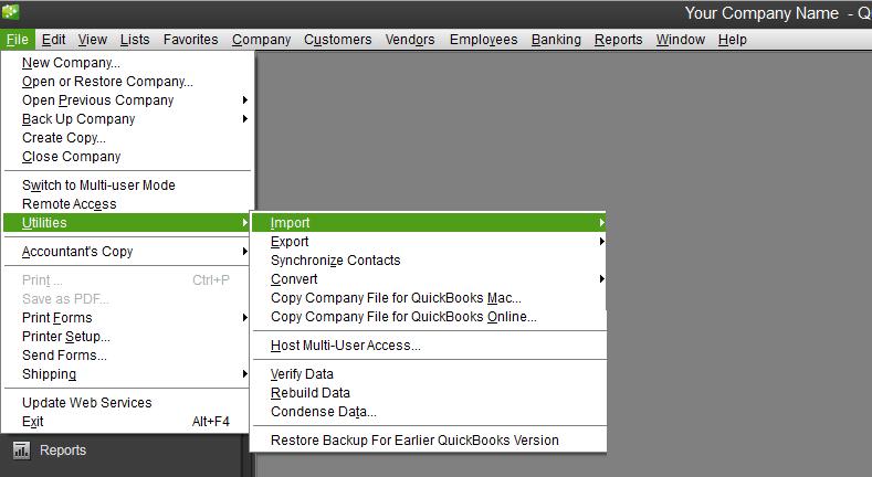 Import option in QuickBooks - Screenshot Image