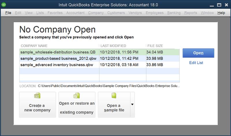 No company open - Screenshot Image