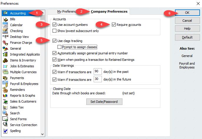 QuickBooks class tracking - Screenshot Image