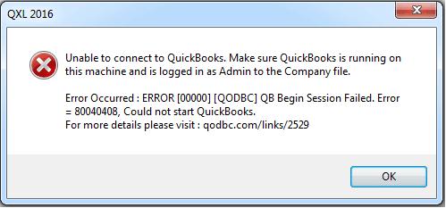 QuickBooks error code 80040408 - Screenshot Image