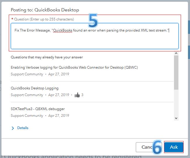 QuickBooks found an error when parsing the provided XML text stream - Screenshot Image