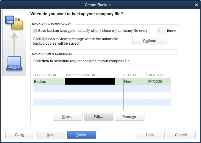 Save backup copy automatically when I close my company file every time - Screenshot Image