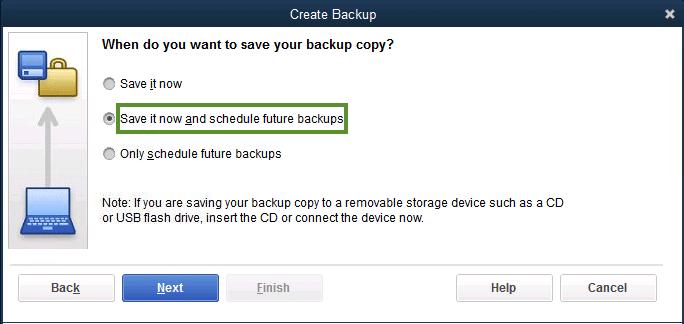 Schedule future backups - Screenshot Image