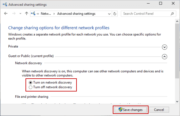 Turn on network discovery - Screenshot Image